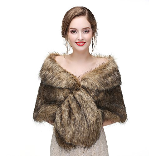 Limeng Women's Faux Fur Shawl Shrug Brown Universal Girl Fox - Brown Fur Coat Fox