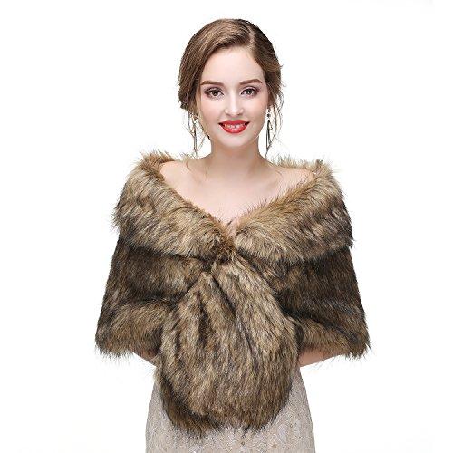 Limeng Women's Faux Fur Shawl Shrug Brown Universal Girl Fox -