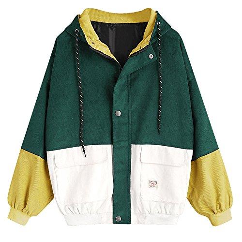 DEZZAL Women's Raglan Sleeve Drop Shoulder Color Block Corduroy Hooded Jacket (Deep Green, - Jacket Block