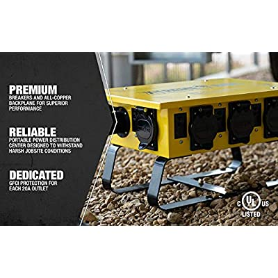 Southwire 019703R02 19703R02 Distribution Featuring 6 Straight Blade 1 Twist-Lock 30 Receptacle A Stackable, Portable Power Distributor Box for 50 amp, 125/250 Volt, 12,000 Watt, Yellow: Home Improvement