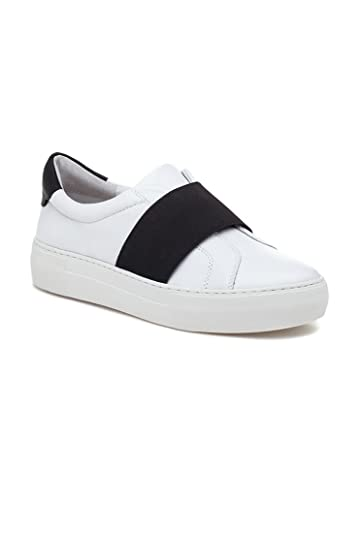 3cfc24cdb8fc0 Amazon.com | J Slides JSlides - Adorn Leather Sneakers - White Black ...