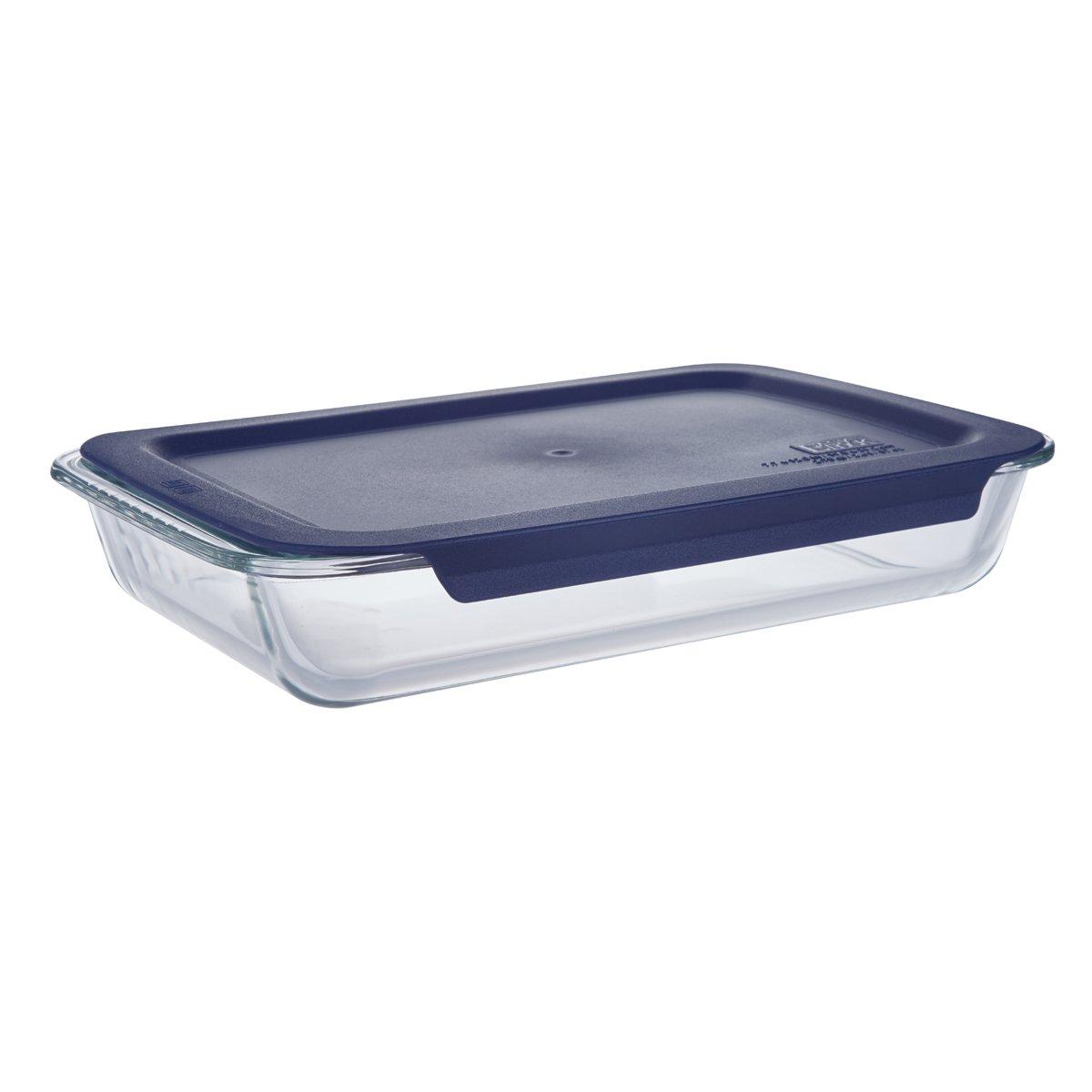 Basics 2.36 Quart Glass Oblong Baking Dish with Blue Plastic Lid - 13.8 x 8.7 x 2.5 inches