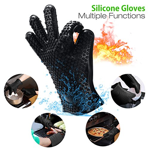 Housmile BBQ Grilling Cooking Gloves with Pork Meat Claws, Grill Brush & Kitchen Tong, Silicone Gloves Heat Resistant Up to 446F, Non-Slip 4-Piece BBQ Grill Accessories for Barbecue Party, Baking by Housmile (Image #1)