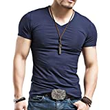 jeansian Men's Casual Slim Fit Short Sleeves V-Neck Tee T-Shirt Tops AMA003