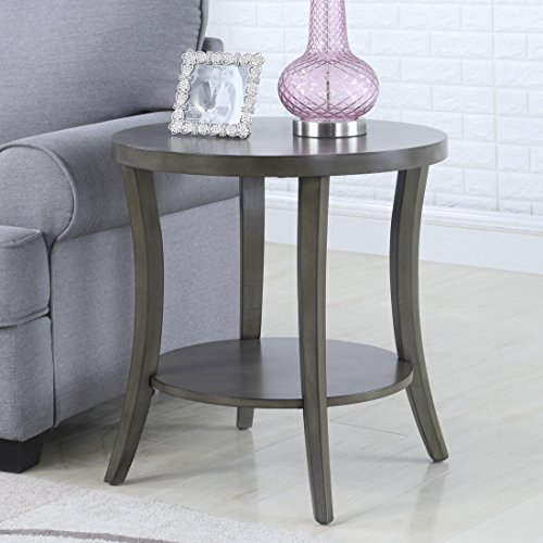 Roundhill Furniture OE0020GY Perth Contemporary Oval Shelf End Table, (Collection Oval End Table)