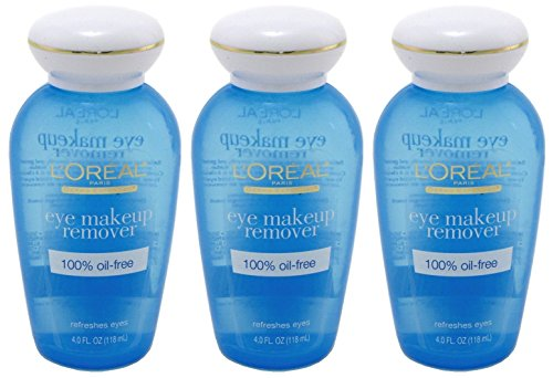 L'Oreal Paris 100 Percent Oil-Free Eye Makeup Remover, 4 FZ (Pack of 3)