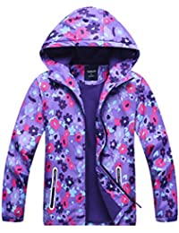 Girls' Fleece Lined Outdoor Windbreaker Light Windproof Jacket with Hood