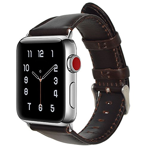 Price comparison product image For Apple Watch Band 42MM,Shielda Retro Genuine Leather Strap Replacement Band for Apple Watch Series 3 / 2 / 1 (Coffee)