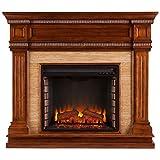 Southern Enterprises Faircrest Faux Stone Electric Fireplace in Oak