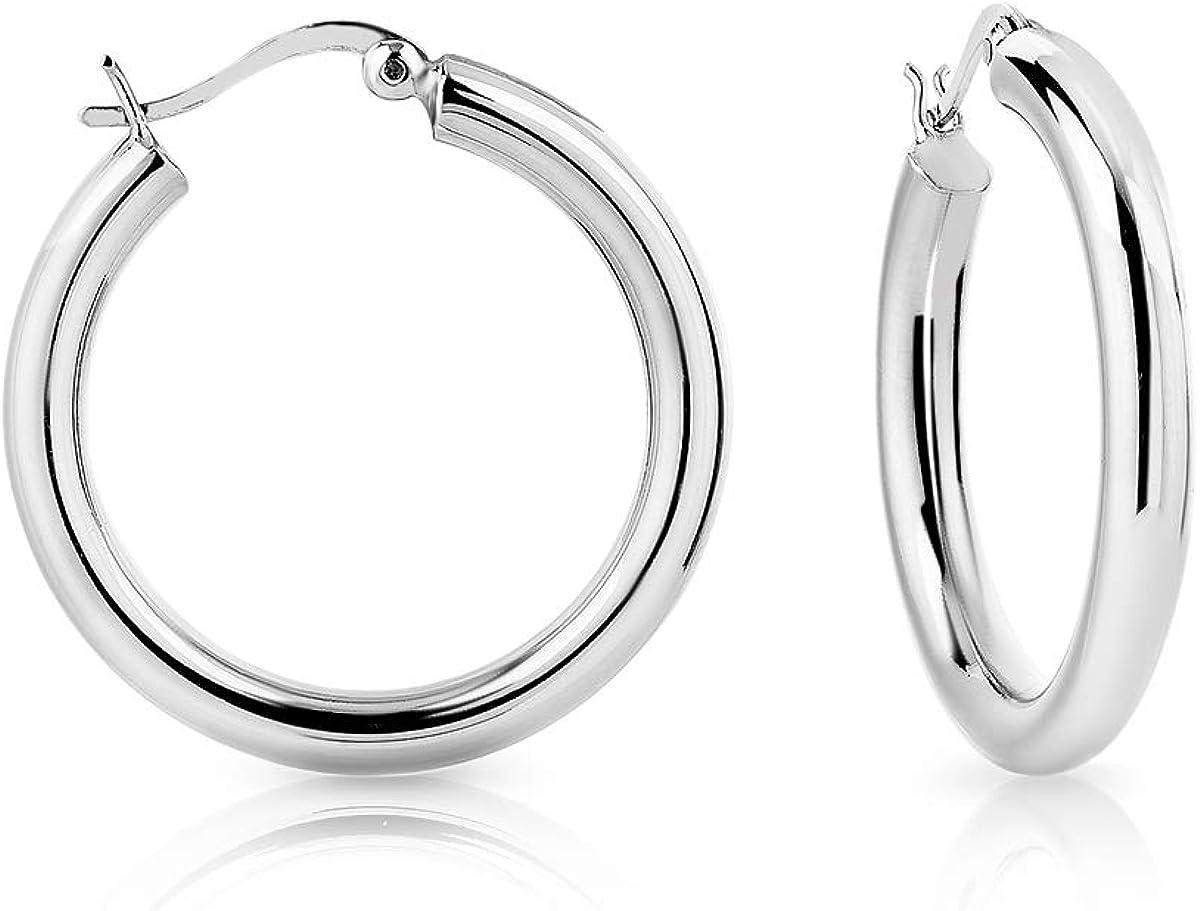 DTP Silver - Pendientes de Aro de mujer - Creoles - Plata 925 - Espesor 4 mm - Diámetro 20, 30, 40, 50, 60 mm