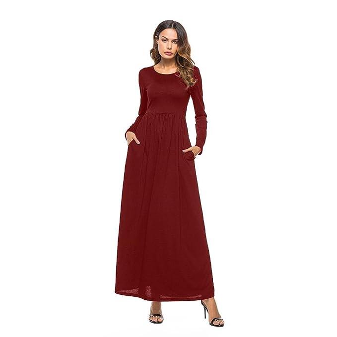 Vestidos de mujer elegantes,VENMO Las mujer Sexy Vestido de Bolsillo O-cuello de