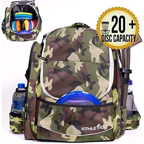Athletico Power Shot Disc Golf Backpack | 20+ Disc Capacity | Pro or Beginner Disc Golf Bag | Unisex Design (Green Camo) ()