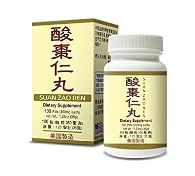 Suan Zao Ren Jujube Herbal Supplement Helps For Nourish The Heart a& Calms The Body, Insomnia Associated With Rapid Heart Beat, Anxiety Due To Yin Deficiency 350mg 100 Pills Made In USA by Lao Wei