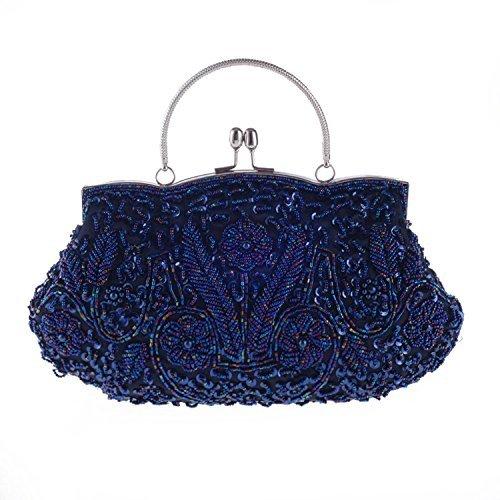 Chichitop Womens Vintage Kiss Lock Beaded Sequin Design Flower Evening Clutch Large Wedding Purse (Navy Blue)