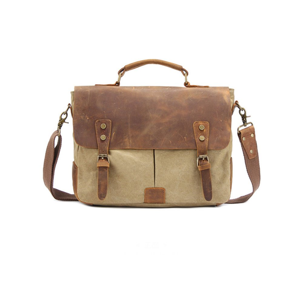 Canvas Retro Style Briefcase Shoulder Strap Crossbody Messenger Bag Mens Business Bag Color : Khaki Messenger bag