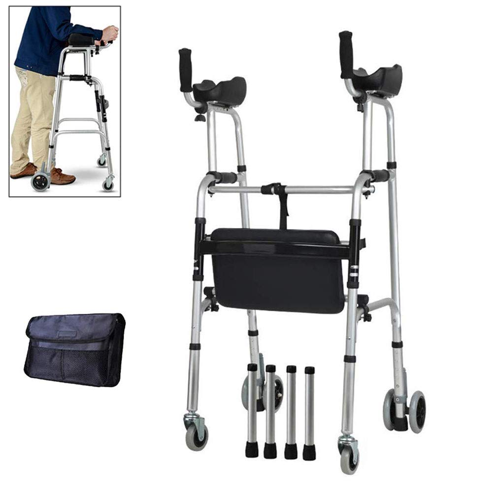 JLVNA Compact Folding Walker, Aluminum Folding Walking Frame Movement Aid, Wheeled Walker with Seat and Armrest for The Physically Handicapped, Movable (Color : B) by JLVNA