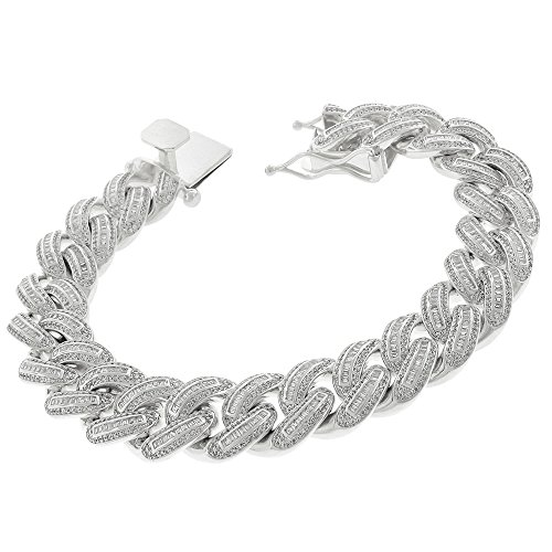 .925 Sterling Silver 16mm Miami Cuban Curb Link CZ Baguette Iced Out Bling Bracelet Chain Rhodium Plated 8.75'' by In Style Designz