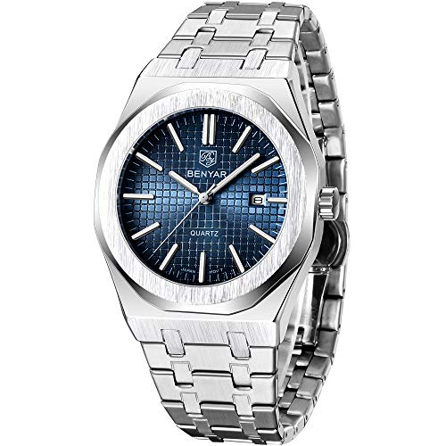 🥇 BENYAR Reloj para Hombre Analógico de Cuarzo con Correa de Acero Inoxidable 5156
