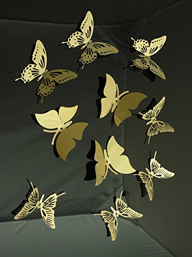 Elegant 10pcs(3items) 3d Butterfly Golden Color Stainless Steel Butterfly Wall  Sticker 3d Metal Wall