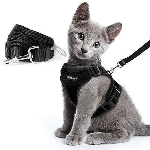 Eagloo Cat Harness and Leash Set for Walking with 2-in-1 Leash and Car Seat Belt Escape Proof Adjustable Harness for Cats Soft Mesh Cat Vest with Reflective Strap for Kitten Rabbit Puppy Black Small