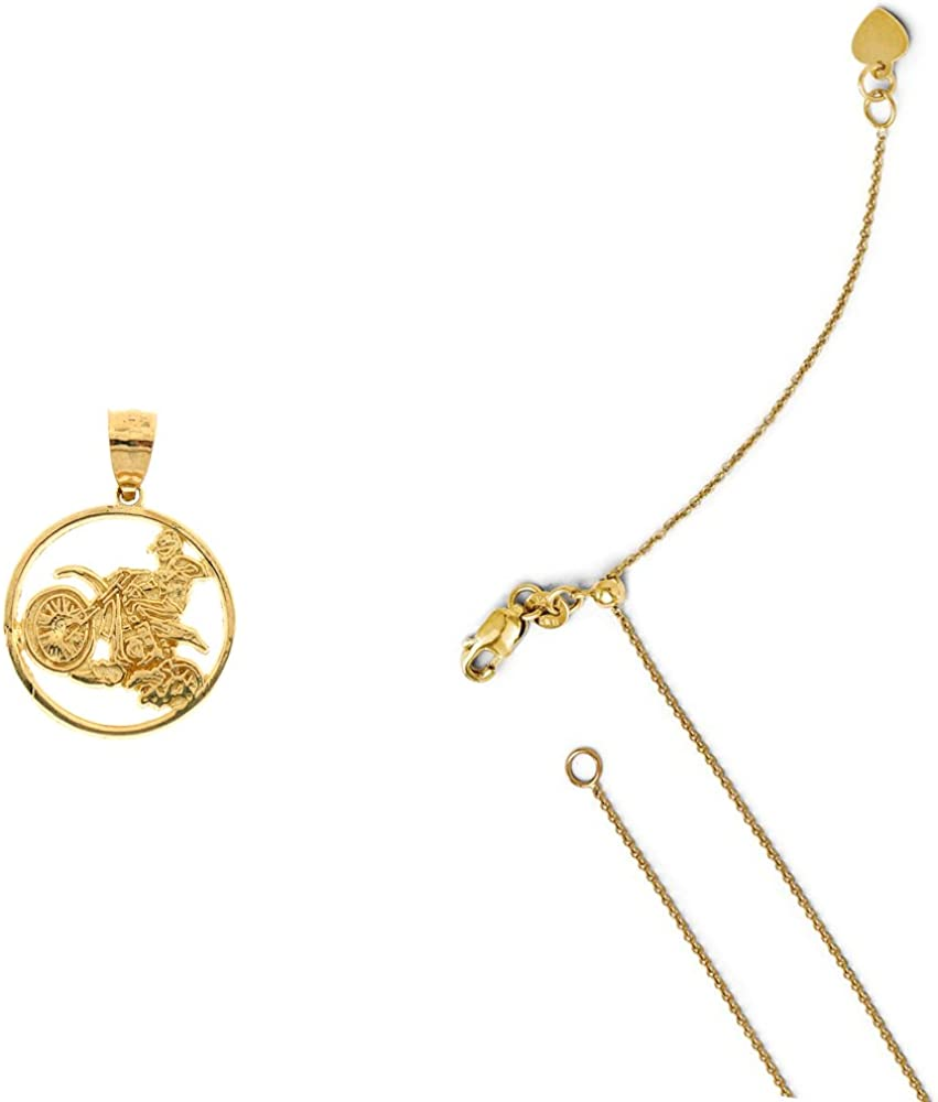 14K Yellow Gold Dirt Bike Pendant on an Adjustable 14K Yellow Gold Chain Necklace