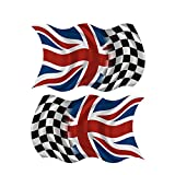 Britain Union Jack Checkered Racing Flag Decal SET 8''x4.8'' British Sticker