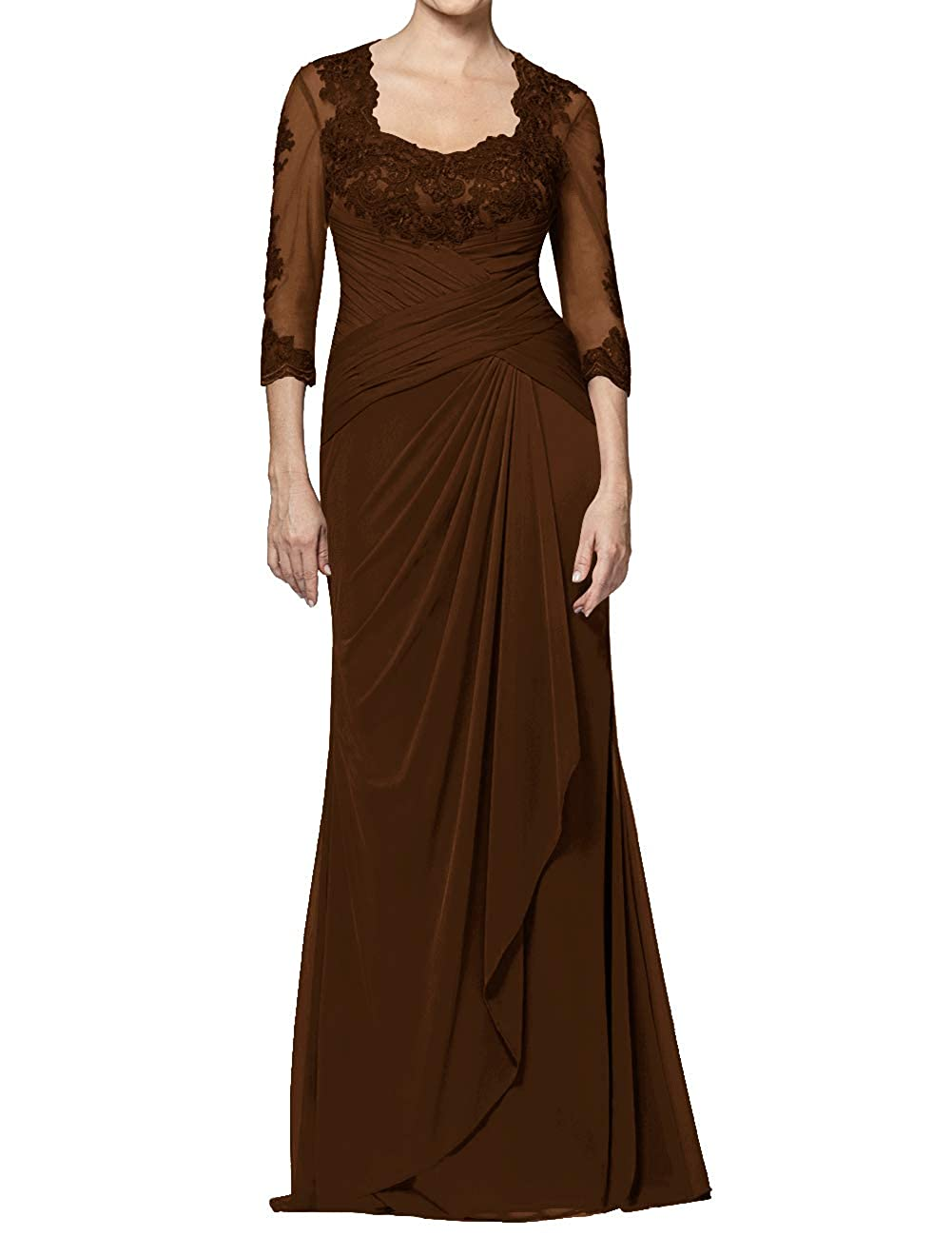 Chocolate Mother of The Bride Dresses Long Appliques Evening Party Prom Gown for Women