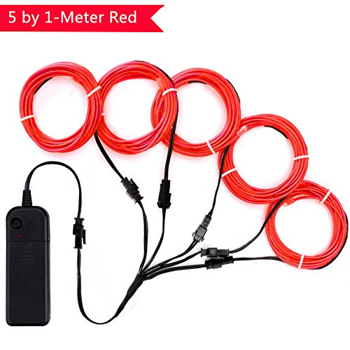 Neon Plug Wires - Zitrades EL Wire Red Neon Lights Kit with 4 Modes Portable Battery Operated for DIY Party Decoration, 5 by 1-Meter