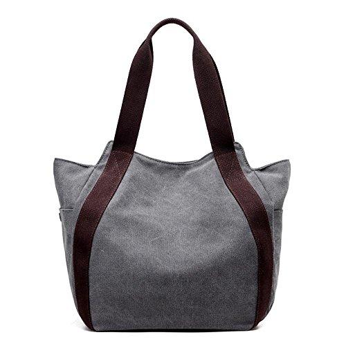 Bag Portable Canvas Leisure Ladies Messenger Shoulder Big Gray