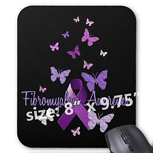 Gaming Mouse Pad Non-Slip Water Resistant Rubber Base Cloth Computer Mouse Mat-Fibromyalgia Awareness Ribbon Butterflies - Ribbon Fibromyalgia Butterfly