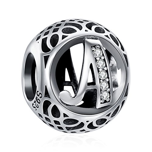 925 Sterling Silver Alphabet Letter A Charms Initial Cubic Zirconia Charms Beads for Bracelets Necklaces