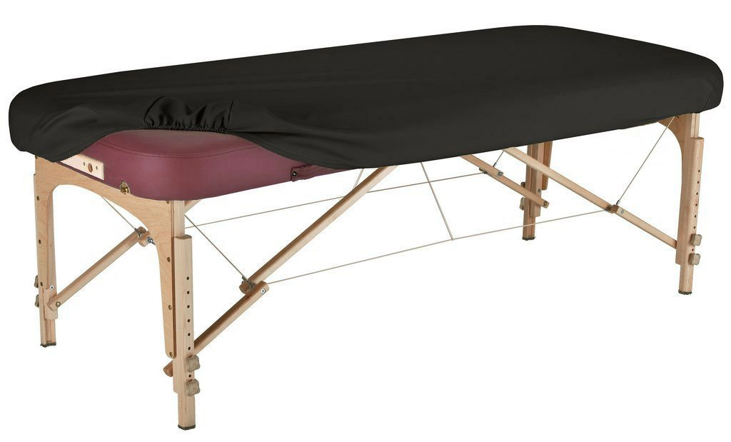 Therapist's Choice Durable Fitted PU Vinyl leather Protection Cover for Massage Tables (Massage Table not included) (Black)