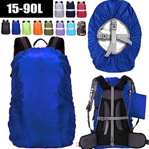 ZM-SPORTS 15-90L Upgraded Waterproof Backpack Rain Cover,with Vertical Adjustable Fixed Strap Avoid to Falling,Gift with Portable Storage Pack (Blue, M(for 30-40L Backpack)