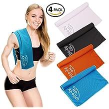 """Juego de toallas de 4piezas (36""""x12"""") suave toalla de microfibra con refrigeración para deportes, gimnasio, fitness, running, yoga, crossfit, excursionismo, viajes, camping, y más. Noapollo."""