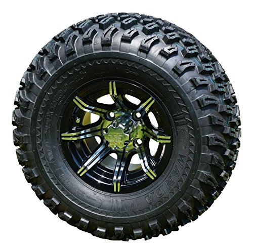 GOLF CART 10''x 7'' MACHINED/BLACK SPIDER ALUMINUM WHEELS & 22'' AT TIRES-SET OF 4 by Steeleng
