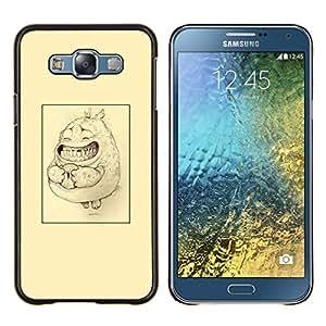 Amarillo impresiones Bosquejo lindo del dibujo de lápiz- Metal de aluminio y de plástico duro Caja del teléfono - Negro - Samsung Galaxy E7 / SM-E700