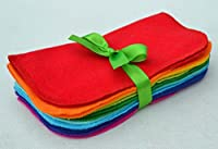 Full Rainbow Set of 10 1-Ply Solid Color Flannel Washable Napkins 8x8 inches - Little Wipes (R) Flannel
