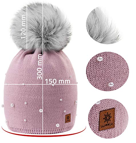 Ladies Con Girls Beanie Ball 4sold Cap Winter Womens Ski Hat Bobble Pom 1 Big Pink Rouse Modelo Snowboard Color Women Lana 4vxzXnqzdE