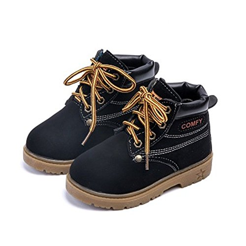 New Winter Fashion Children Leather Snow Boots For Girls Boys Warm Martin Boots Child Baby Toddler Boots(Black 23 EU/7.5 M US Toddler) (Boots Moon Winter Snow)