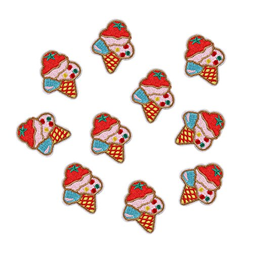 XUNHUI 10 pcs Ice Cream Patches Embroidered Badges Iron On Patches Applique Sticker for Clothing