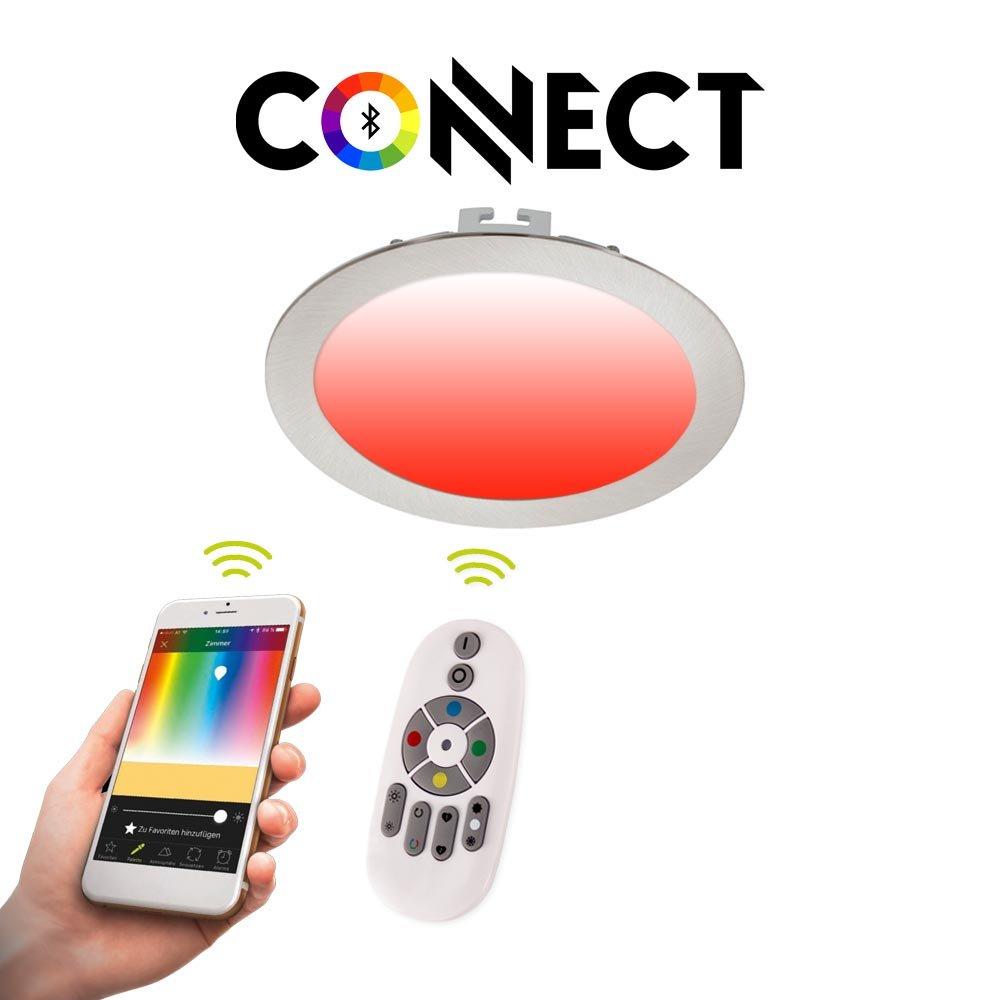 Connect LED-Einbaupanel Ø17 cm cm cm Alu-Matt   1200 Lumen   RGB+CCT   LED Einbauspot 395db8