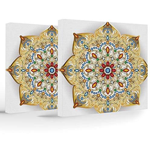 Artwork Wall Art Canvas Prints Picture,Gold Mandala,2 Panels Stretched Canvas Framed Wall Art,Brooch Inspired Design Mandala Geometric Vintage Lively Figure Digital Print Decorative