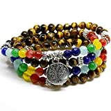 Zila Company TREE OF LIFE Necklace Bracelet Jewelry - 108 Mala Beauty Beads and 7 Chakra Stones with Tiger eye and Silver Pendant - for Men and Women, Healing, Kabbalah, Prayer
