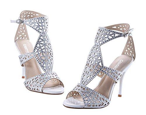 Camssoo Womens Sandali Con Cinturino Alla Caviglia Sandali Peep Toe Stiletto Pompe Party Dress Scarpe Argento Velluto