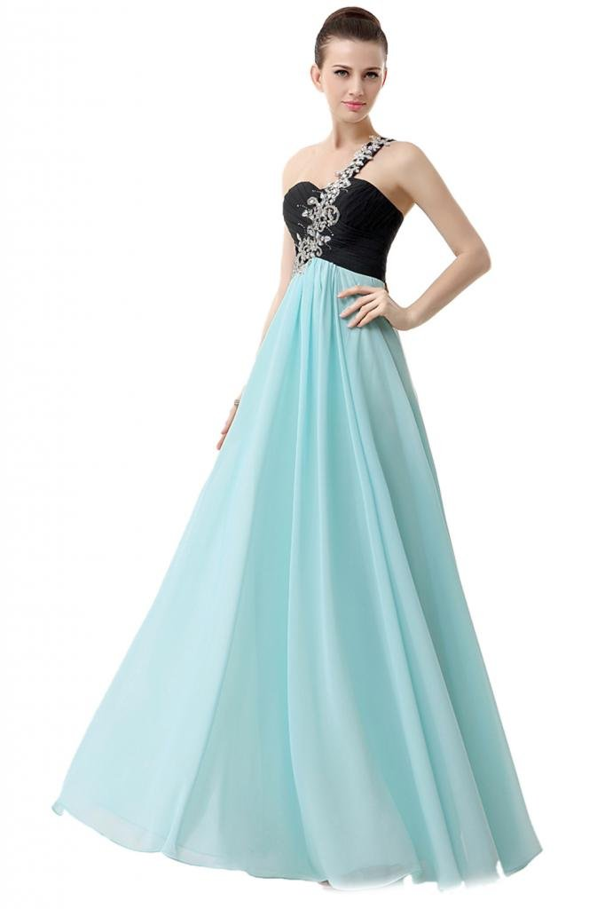 Ikerenwedding Women's One-Shoulder Beading Applique Long Bridesmaids Party Dress Black+Cyan US08