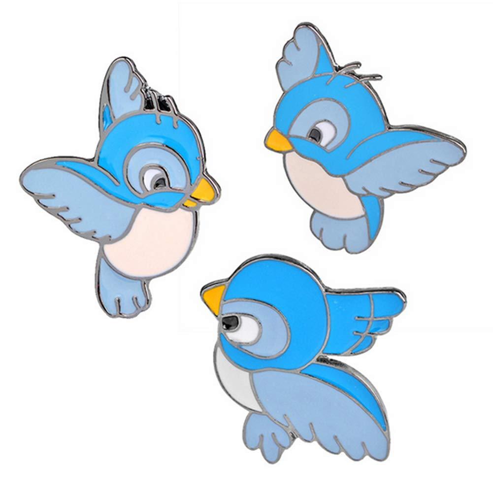 Mein Ji Schmuck 3 Stü ck/Set des Novato Vogel Blau Niedlich Pin des Schiffs Tier der Brosche Denim Jacket Schnalle Hemd Geschenk Schild fü r Kinder mi ji