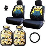 8 piece car seat covers - New Design 8 Pieces Despicable Me Minion Design Car Seat Covers Floor Mats and Steering Wheel Cover Set with Air Freshener