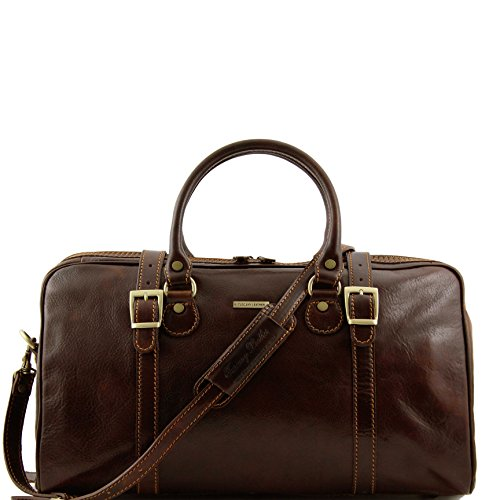 Tuscany Leather Berlin Travel leather duffle bag - Small size Dark Brown by Tuscany Leather