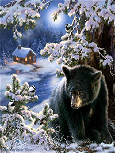 (YEESAM ART DIY Paint by Numbers for Adults Beginner Kids, Bear Snow Forest Scenery 16x20 inch Linen Canvas Acrylic Stress Less Number Painting Gifts (Bear, Without Frame))