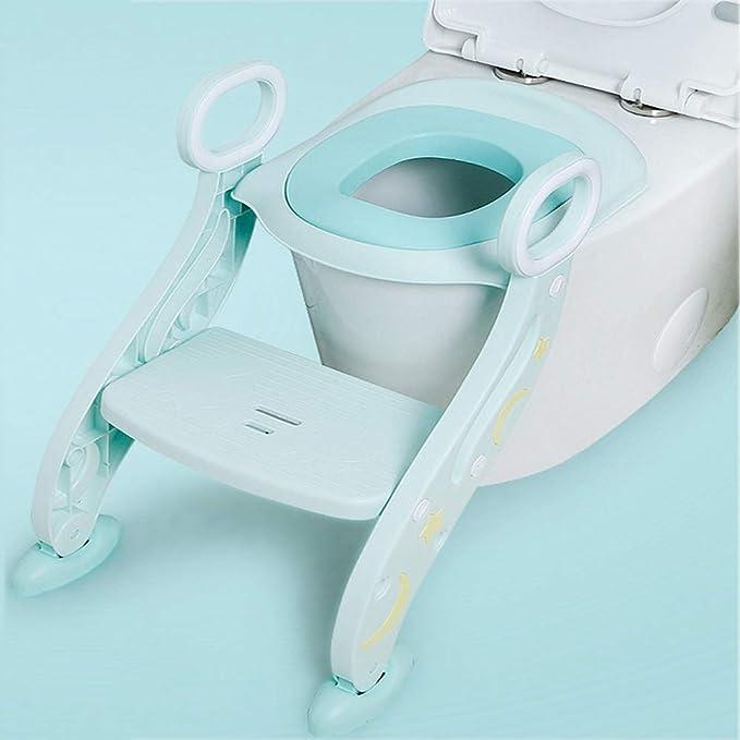 Asiento Escalera del Tocador de Niños, Reductor WC para Niños Acolchado Suave con Escalón Plegable Abatible Ajustable, Antideslizante,Green: Amazon.es: Hogar